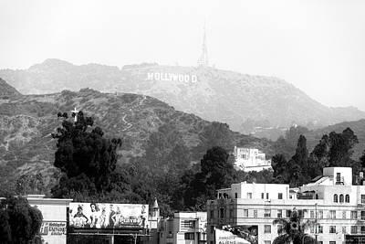 Hollywood Sign Black And White Poster