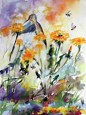 Poster featuring the painting Hummingbird And Dandelions by Ginette Callaway