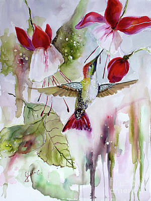 Poster featuring the painting Hummingbird And Flowers by Ginette Callaway