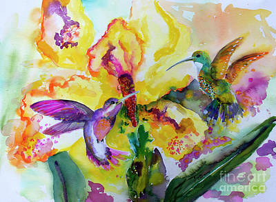 Poster featuring the painting Hummingbird Song Watercolor by Ginette Callaway