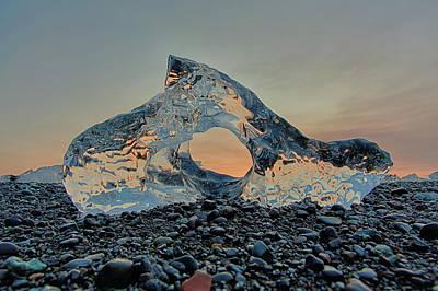 Iceland Diamond Beach Abstract  Ice Poster