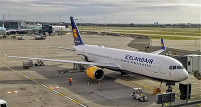 Icelandair Boeing 767-319 At London Heathrow Airport Poster