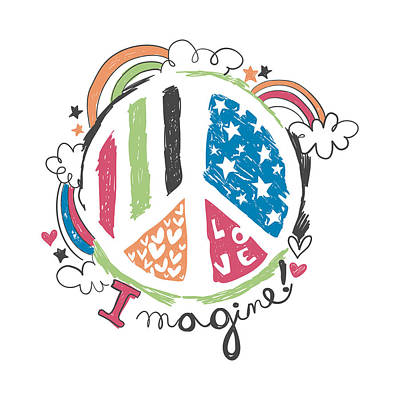 Imagine Love And Peace - Baby Room Nursery Art Poster Print Poster