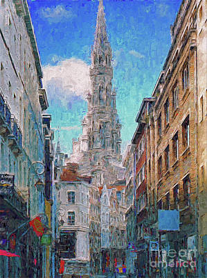 Poster featuring the photograph In-spired  Street Scene Brussels by Leigh Kemp