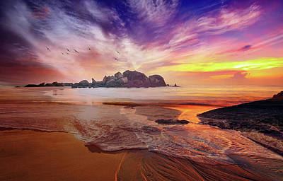Incoming Tide At Sunset Poster