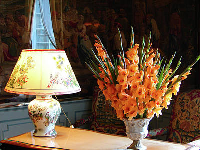 Poster featuring the photograph Interior With Antique Chinese Lamp And Vase With Orange Gladiolus by Cristina Stefan