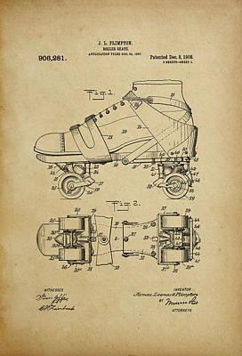 J. L. Plimpton, Roller Skate, Patented Dec.8,1908. Poster