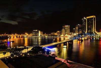 Jacksonville Skyline By Night Poster