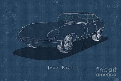 Jaguar E-type - Front View - Stained Blueprint Poster