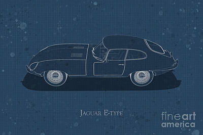 Jaguar E-type - Side View - Stained Blueprint Poster