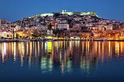 Kavala Town At Night Poster