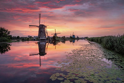 Kinderdijk Sunset Poster