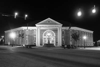 Poster featuring the photograph Lancaster County Administration Building 2016 Night B W by Joseph C Hinson Photography