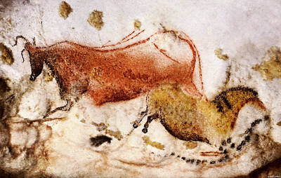 Lascaux Cow And Horse Poster
