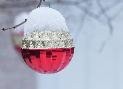 Poster featuring the photograph Let It Snow On The Red Christmas Ball - Outside Winter Scene  by Cristina Stefan