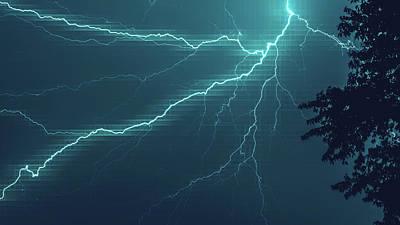 Lightning Grid Poster