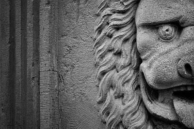 Lion Statue Portrait Poster