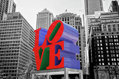 Poster featuring the photograph Love In The City - Philadelphia In Black And White With Selective Color by Bill Cannon