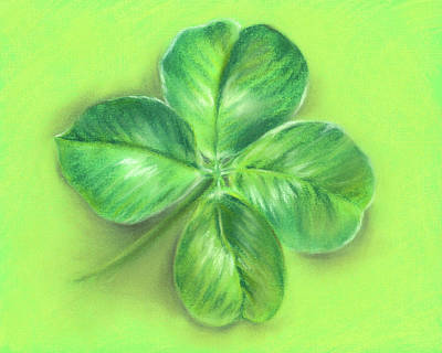 Poster featuring the pastel Lucky Four Leaf Clover by MM Anderson