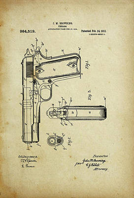 M1911 Browning Pistol Patent Poster
