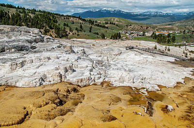 Poster featuring the photograph Mammoth Hot Springs And Hotel by Matthew Irvin
