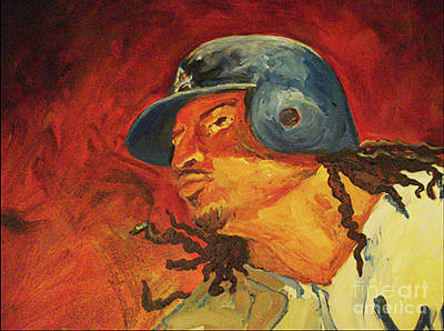 Poster featuring the painting Manny Ramirez by Donna Hall