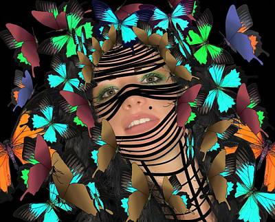 Mask Of Butterflies And Bondage Poster