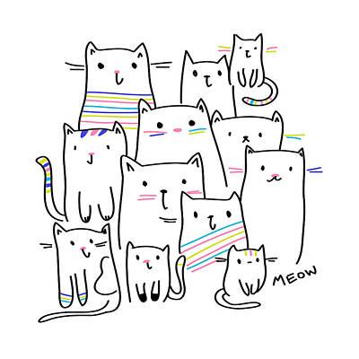 Meow Kitties - Baby Room Nursery Art Poster Print Poster