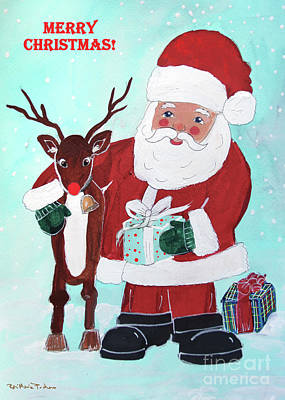 Poster featuring the painting Merry Christmas Santa Reindeer by Robin Maria Pedrero
