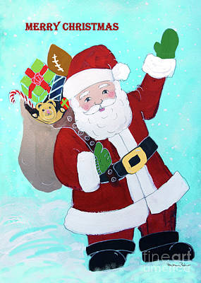 Poster featuring the painting Merry Christmas Santa With Toy Sack by Robin Maria Pedrero
