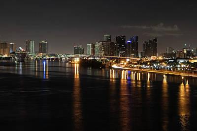 Miami Lights At Night Poster
