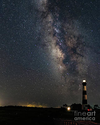 Poster featuring the photograph Milky Way And Bodie Lighthouse by Terry Rowe