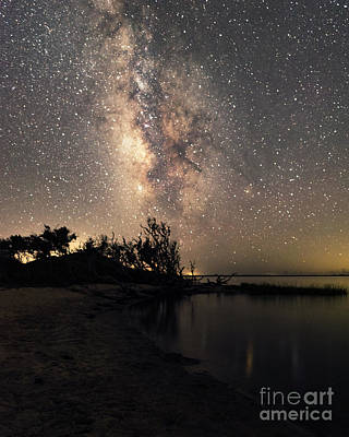 Poster featuring the photograph Milky Way Over Pamlico Sound by Terry Rowe