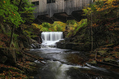 Poster featuring the photograph Mill Brook Falls And Bissell Covered Bridge by Juergen Roth