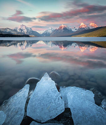 Poster featuring the photograph Mirrored Reflection / Lake Mcdonald, Glacier National Park  by Nicholas Parker