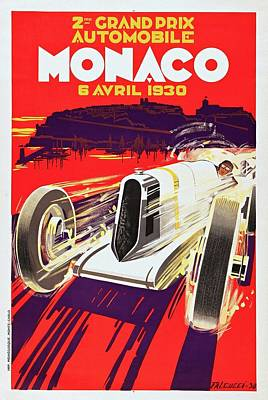 Monaco Grand Prix 1930, Vintage Racing Poster Poster