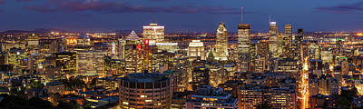 Poster featuring the photograph Montreal Panorama At Night by Pierre Leclerc Photography