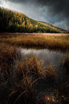 Moody Skies And Rainbows / Whitefish, Montana  Poster