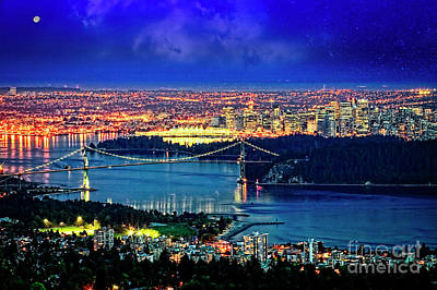 Poster featuring the photograph Moon Over Vancouver by Scott Kemper