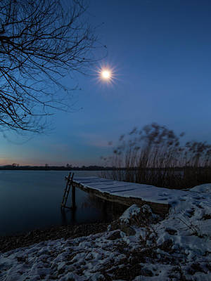 Poster featuring the photograph Moonlight Over The Lake by Davor Zerjav