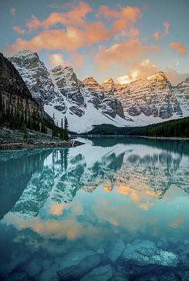 Poster featuring the photograph Morraine Lake Moonset / Alberta, Canada  by Nicholas Parker