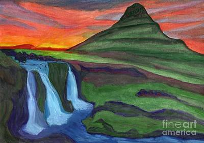 Mountain And Waterfall In The Rays Of The Setting Sun Poster