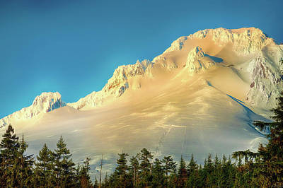 Poster featuring the photograph Mt. Hood In Late Afternoon Sunlight by Dee Browning