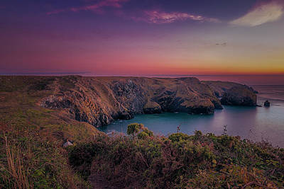 Mullion Cove Cornwall Sunset Poster