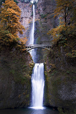 Poster featuring the photograph Multnomah Falls Autumn Colors by Rospotte Photography