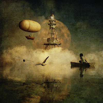 Poster featuring the digital art My Dream About The Lighthouse by Jan Keteleer