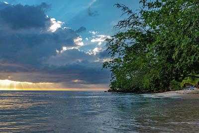 Negril Beach Sunburst At Sunset Poster