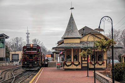 Poster featuring the photograph New Hope Train Station At Christmas by Kristia Adams