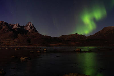 Northern Lights Aurora Borealis In Norway Poster