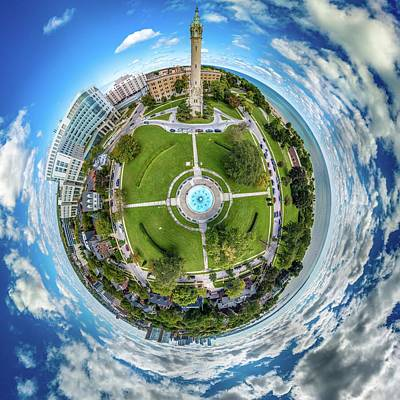 Poster featuring the photograph Northpoint Water Tower Little Planet by Randy Scherkenbach